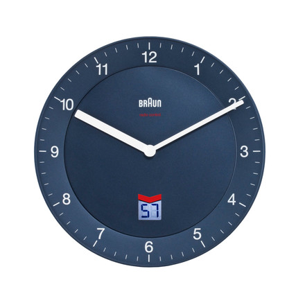 Braun - Analogue Radio Controlled Wall Clock BNC006, blue