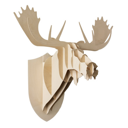 Moustache - Moose trophy, plywood birch, single image