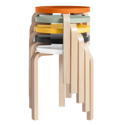 Artek - Stool 60, lacquered seats - group, stacked