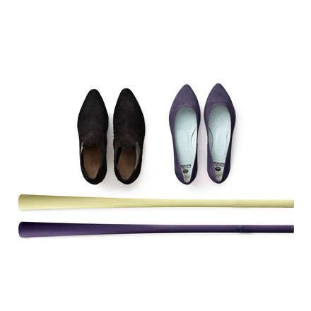 Normann Copenhagen - Shoehorn, green, purple - with shoes