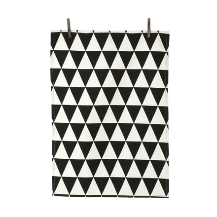 ferm Living - Organic Tea Towels, triangle black