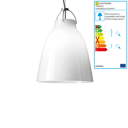 Caravaggio P0 Pendant Lamp by Lightyears in glossy white