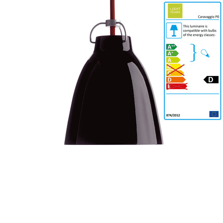 Caravaggio P0 Pendant Lamp by Lightyears in glossy black