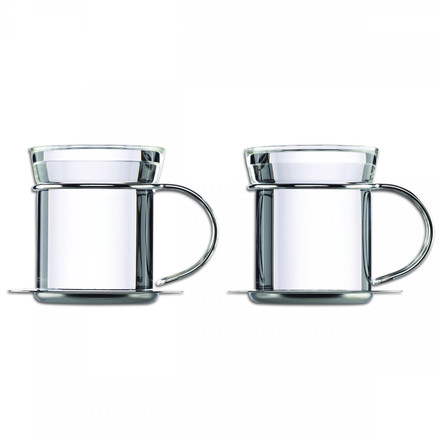 Mono - filio tea mug with stainless steel saucer, set of 2
