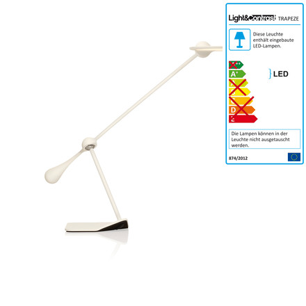 Klein & More - Trapeze LED table lamp, small, white, single image