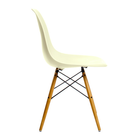 Vitra - Eames Plastic Side Chair DSW - cream, plastic glides, single image