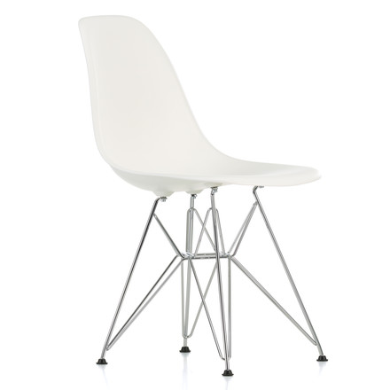 Vitra - Eames Plastic Side Chair DSR, chromed / white, felt glides black - single image