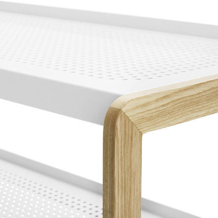 Normann Copenhagen - Sko shoe rack, white - wooden edge, details image