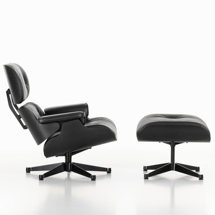 Vitra - Lounge Chair & Ottoman - black ash wood - lateral