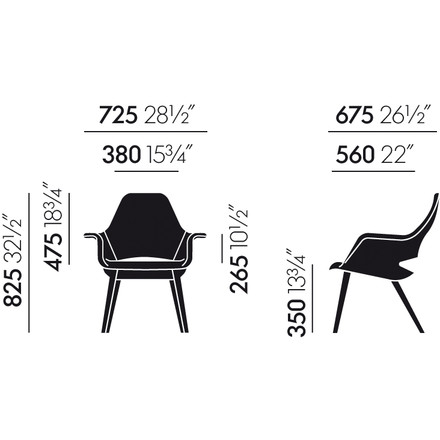 Vitra - Organic Chair - dimensions