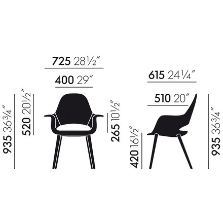 Vitra - Organic Conference Chair - dimensions