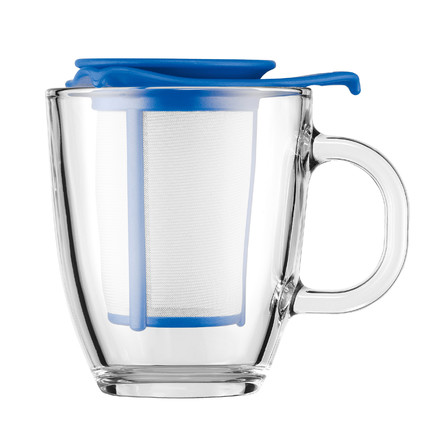 Bodum - Yo-Yo Set - Glass cup, plastic filter 0.35l, blue