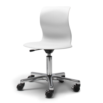 Flötotto - Pro 5 Swivel Chair chrome plated, seat snow white, single image