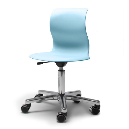 Flötotto, Pro 4 and 5 swivel base chrome-plated, seat Aqua blue, single image