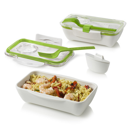 Black + Blum - Bento Box, lime - open, with food