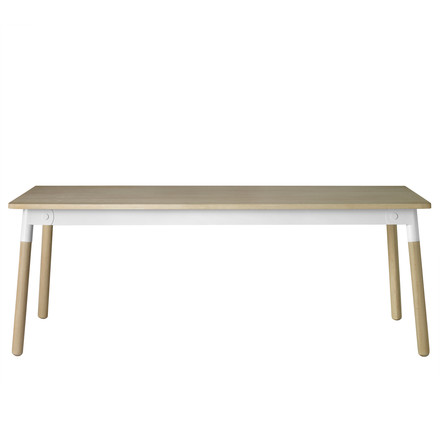 Muuto - Adaptable dining table, oak wood / white / natural oak, single image