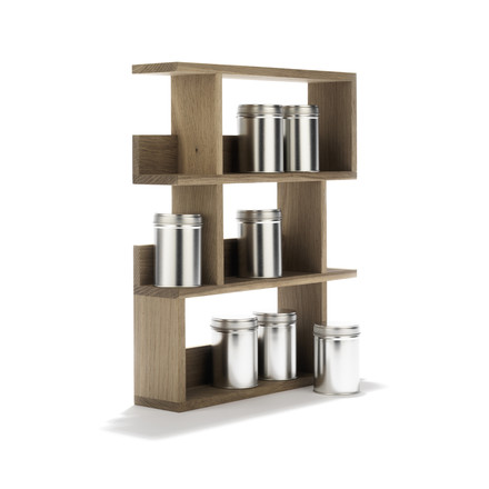 side by side - Spice Rack - inclined, with jars, single image
