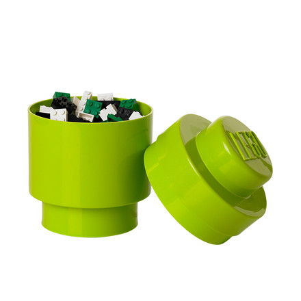 Lego - Storage Brick 1 Round, lime - open