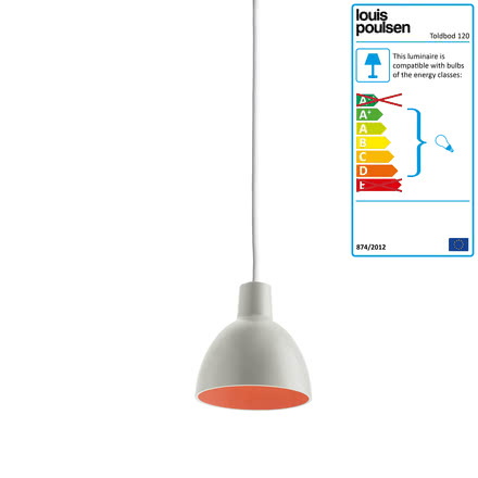Louis Poulsen - Toldbod 120 pendant lamp, light grey / coral (white cable), single image