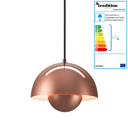 FlowerPot Pendant Lamp VP1 by &Tradition in copper