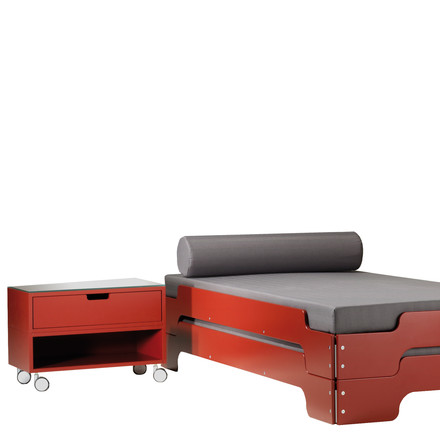 Modular Bedside Table and Stacking Bed in Red