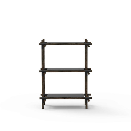 Menu - Stick System, shelf, black / dark ash, 1 x 3