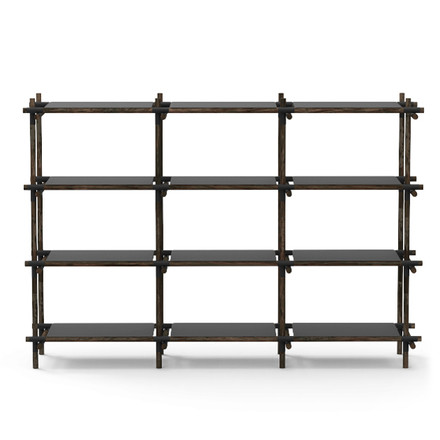 Menu - Stick System, shelf, black / dark ash, 3 x 4