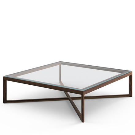 Knoll - Marc Krusin End Table, American Walnut, Clear Glass