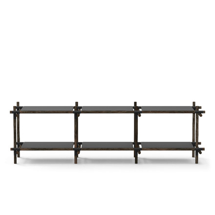 Menu - Stick System, shelf, black / dark ash, 3 x 2