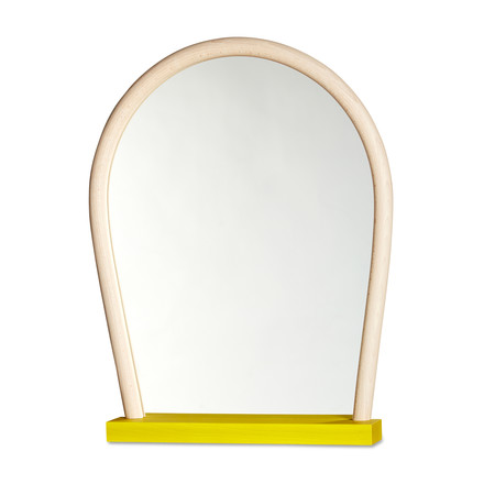 Hay - Bent Wood Mirror, yellow / beech