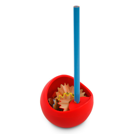 j-me - Orb Pencil Sharpener, red - with pencil