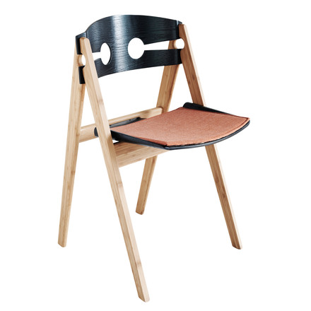 We do wood - Dining Chair no. 1 black, with cushion coral