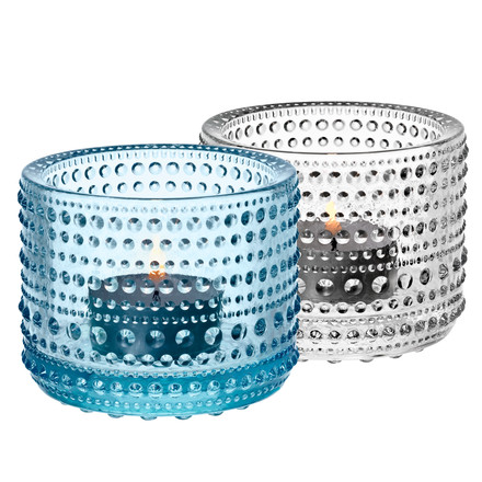 Iittala - Kastehelmi Votive clear / light-blue, set of 2