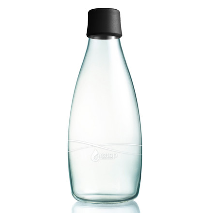 Retap - bottle with lid, 0,8 L, black - single image