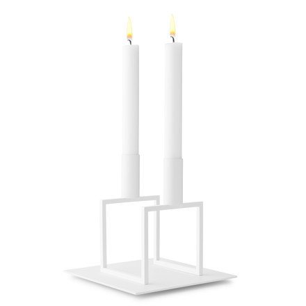 by Lassen - Line Candleholder, white with base