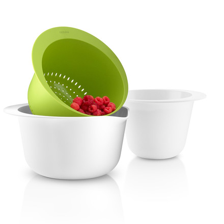 Eva Solo - Set of Bowls and Colander, white / lime