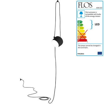 Flos - AIM Pendant Lamp, cable+plug, black