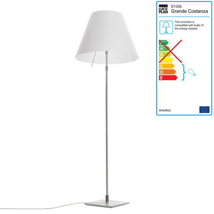 Grande Costanza standard lamp D13 G.t. by Luceplan made of aluminium in white
