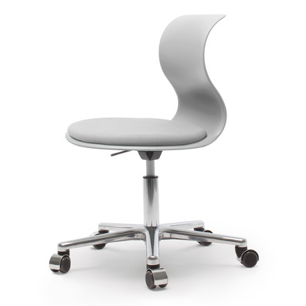 Flötotto - Pro 6 Swivel Chair, polished aluminium / granit grey, soft casters (with polished cap) - single image