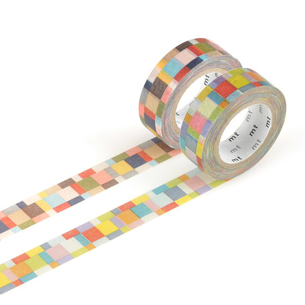 Masking tape - 2P deco Serie mosaic/ bright, greyish (Set of 2)