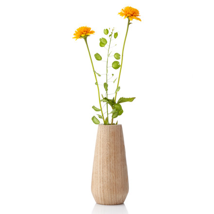 Applictata - Torso Vase medium, oak, flowers