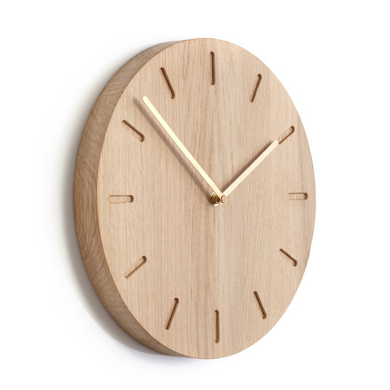 Applicata - Watch:Out Wall Clock Oak, Brass
