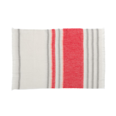 ferm living - Mohair Throw, red / white / grey