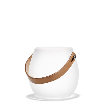 Holmegaard - Design with light glass bowl with leather strap, white, H: 10 cm