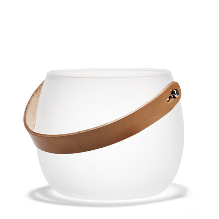 Holmegaard - Design with light glass bowl with leather strap, white, H: 12 cm