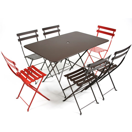 Bistro Folding Table with Fold-Away Chairs by Fermob
