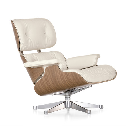 Vitra - Lounge Chair & Ottoman, white/polished, Walnut (classic)