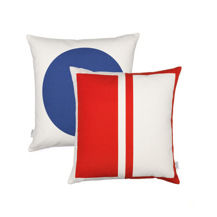 Vitra - Graphic Print Pillow - Rectangles / Circle 40 x 40 cm, red / blue