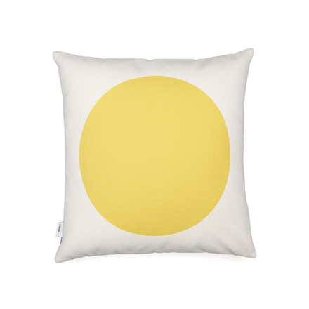 Vitra - Graphic Print Pillow - Rectangles / Circle 40 x 40 cm, blue / mustard, mustard side