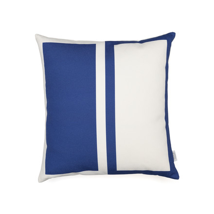 Vitra - Graphic Print Pillow - Rectangles / Circle 40 x 40 cm, blue / mustard, blue side